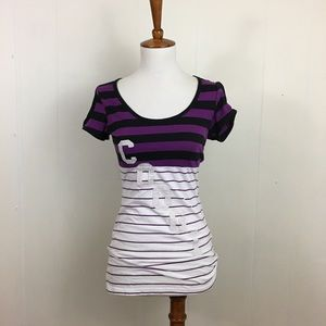 COOGI Striped Scoop Neck Fitted Spellout Tee